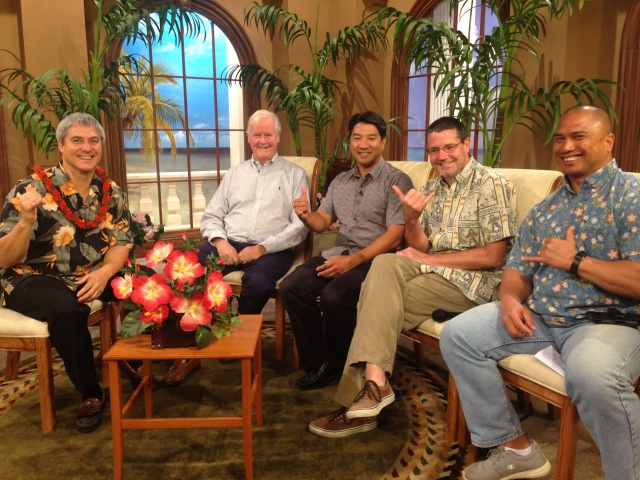 TV taping with some local pastors and Os Guinness who was on the island for an apologetics conf I was fortunate to be able to speak at. Os, as a good Brit, was not into the Island vibe.